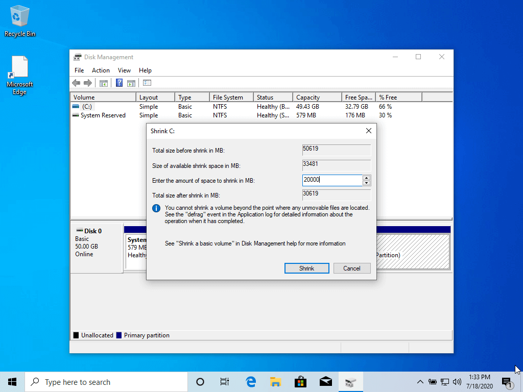 Shrink Windows Partition