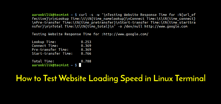 Test Website Speed in Linux Terminal