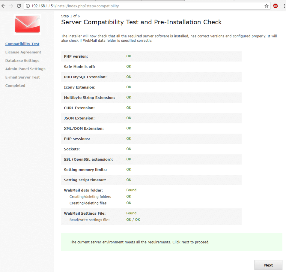 WebMail Pre Installation Checks
