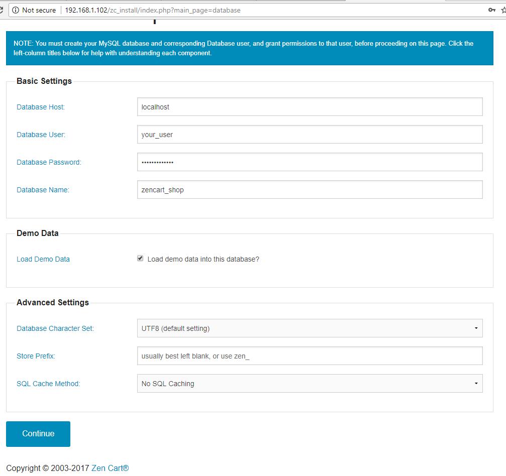 ZenCart Database Setup
