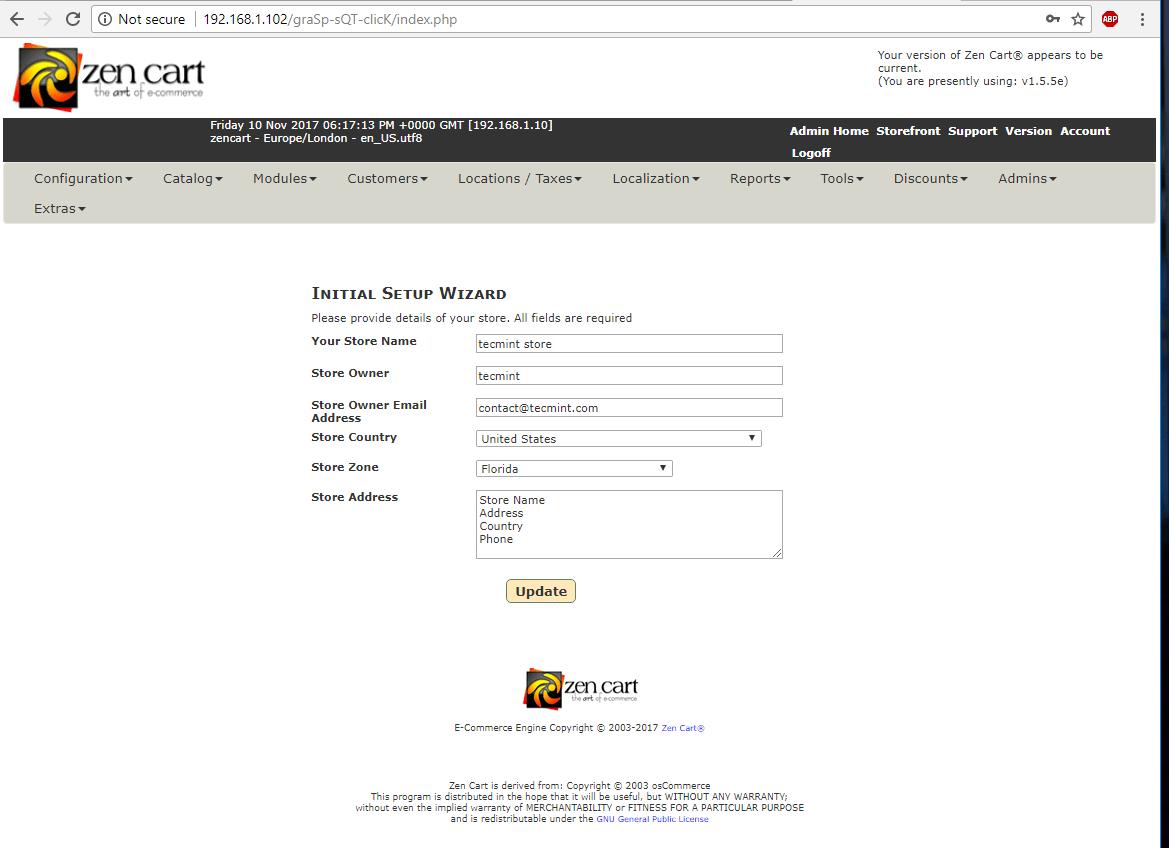 ZenCart Initial Setup Wizard
