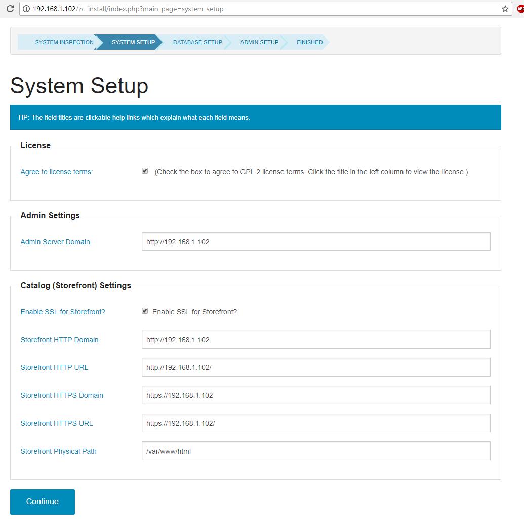 ZenCart System Setup