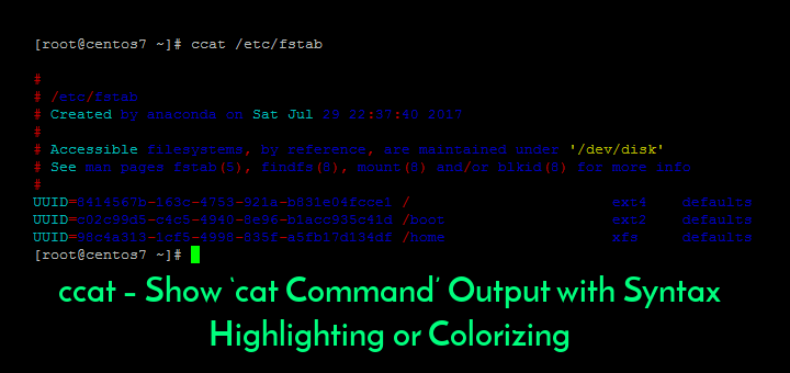 Cat Command Syntax Highlighting