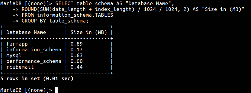 Check MySQL Database Size
