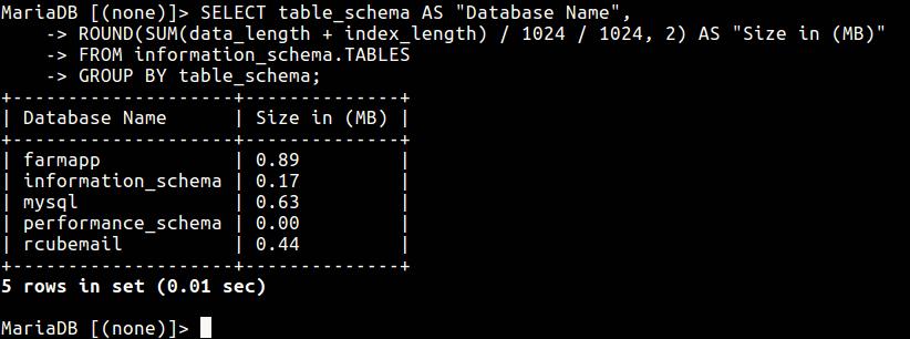 Check MySQL Database Size