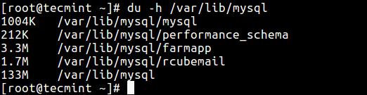 Check MySQL Size on Disk