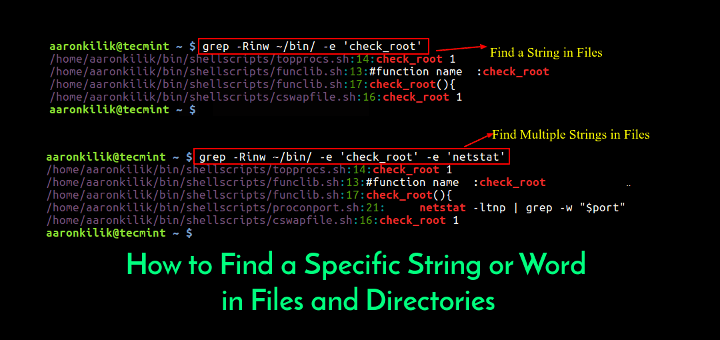 Grep Find a String in Files