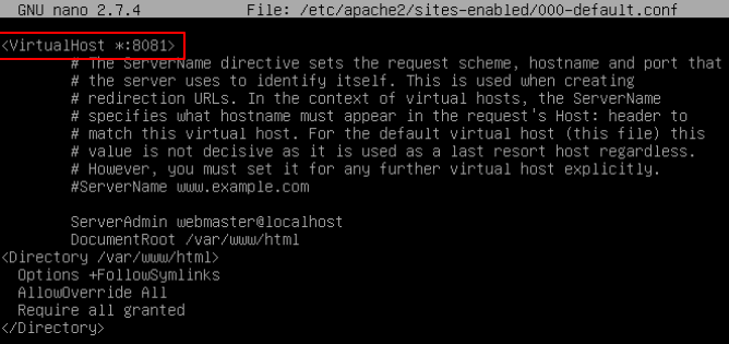 Change Apache Port on Virtualhost