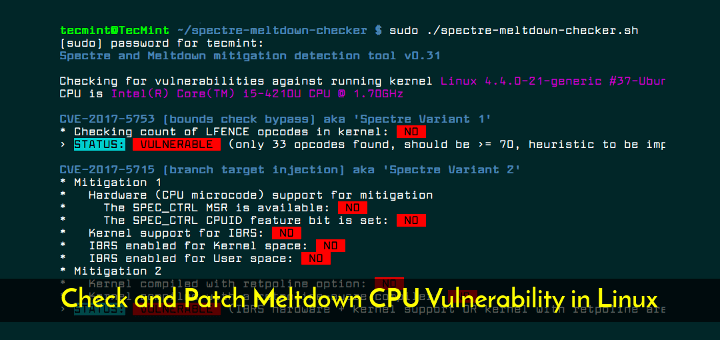 Check and Patch Meltdown Vulnerability in Linux