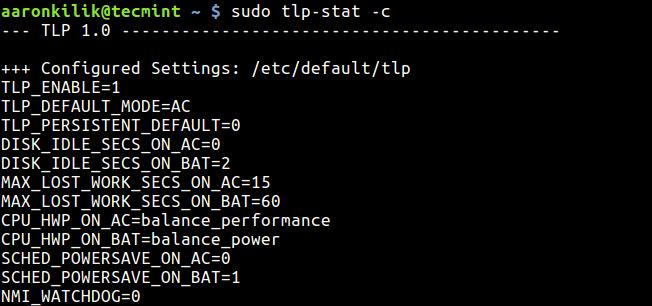 Show TLP Configuration