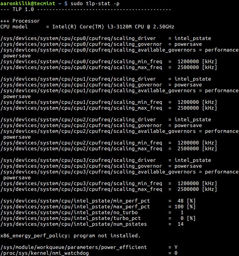 Show Processor Data