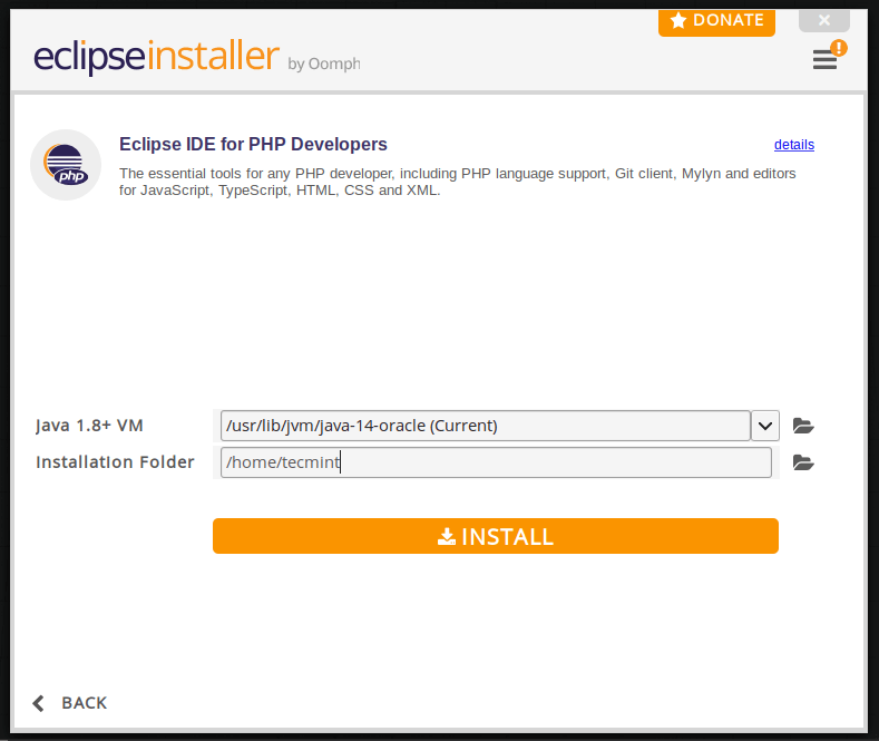 Choose Eclipse IDE Installation Folder