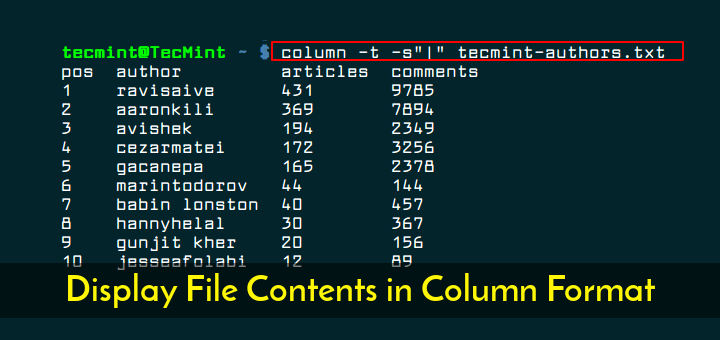 Display Command File Contents in Column Format
