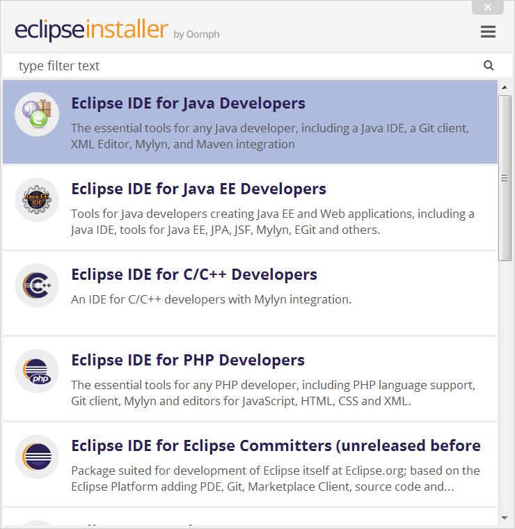 List of Eclipse IDE's to Install