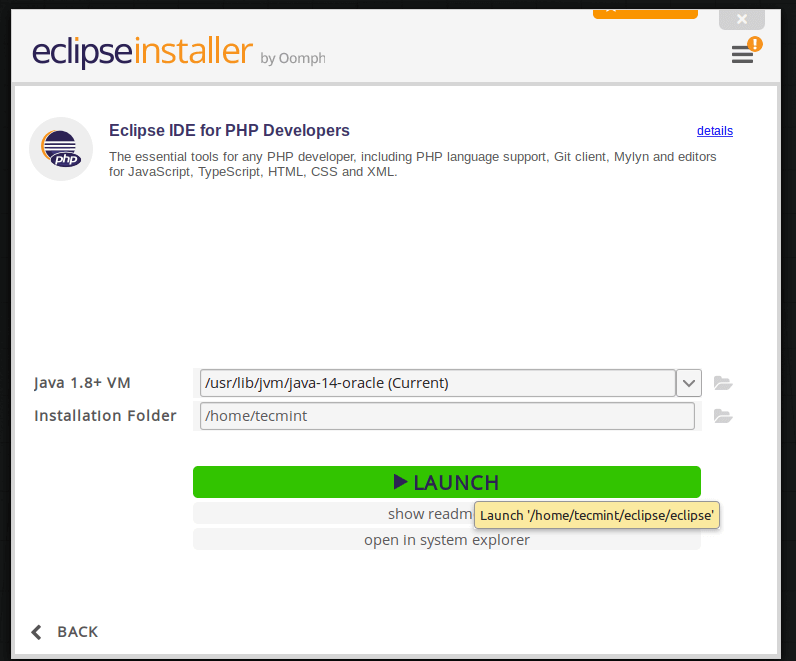 Launch Eclipse IDE