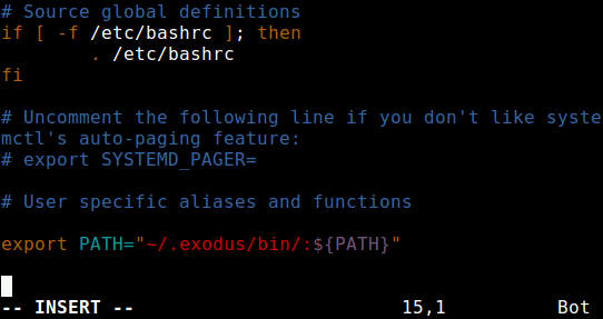 Add Exodus Path in Remote Linux Bashrc