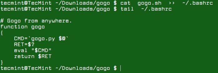 Add Gogo Function to Bashrc