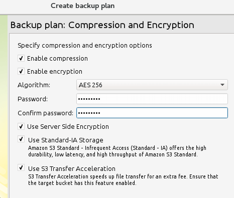 Enable Compression and Encryption on Backup