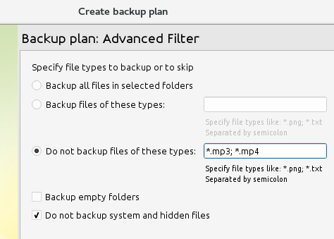 Exclude Files for Backup