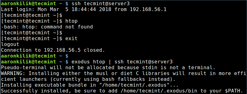 Exodus Copy Htop Binaries to Remote Linux