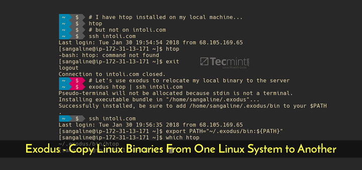 Exodus Copy Linux Binaries to Remote Linux