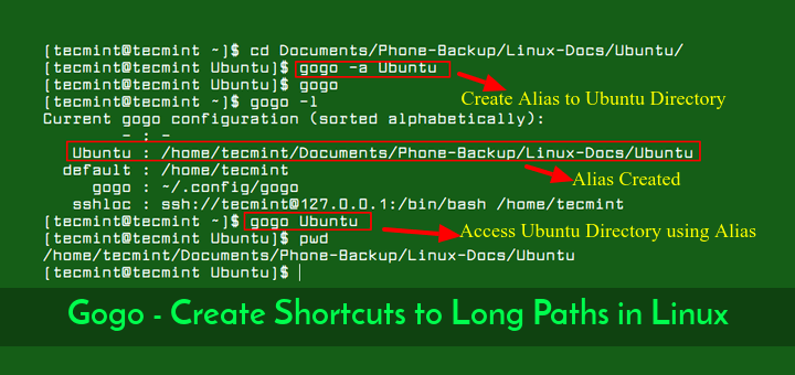 Gogo - Create Alias to Long Linux Paths
