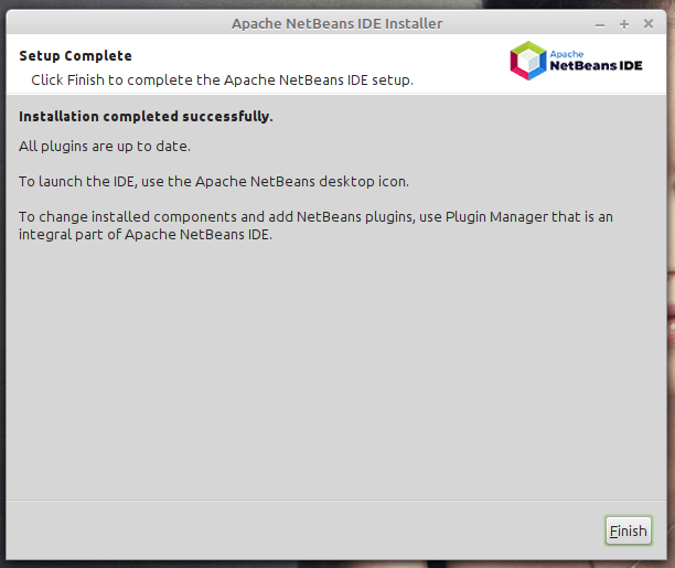 NetBeans IDE Installation Completes