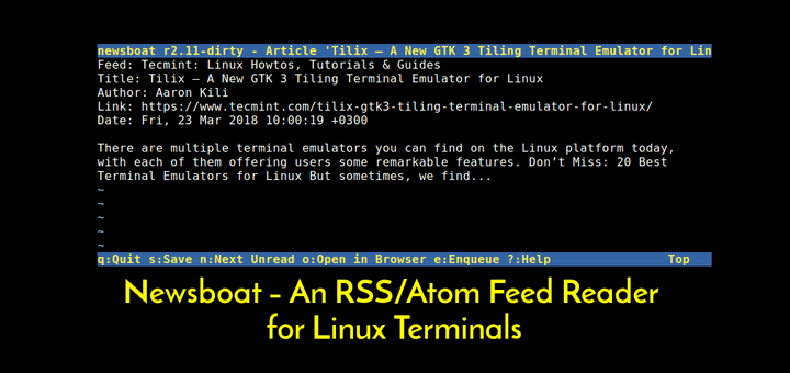 Newsboat RSS Atom Reader for Linux Terminal