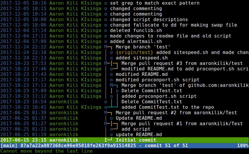 Show Git Repository Commits