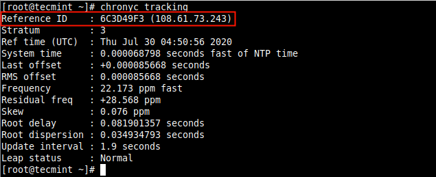 Display Chrony Tracking