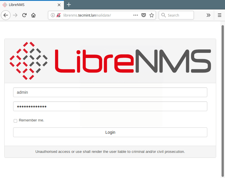 LibreNMS Login Page