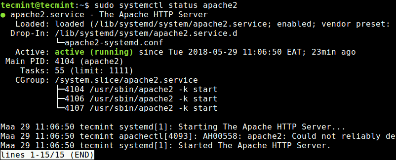 Check Apache Service in Ubuntu