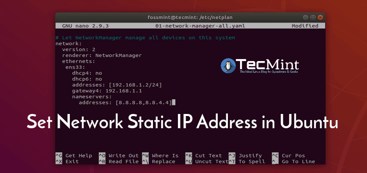 Configure Network Static IP in Ubuntu