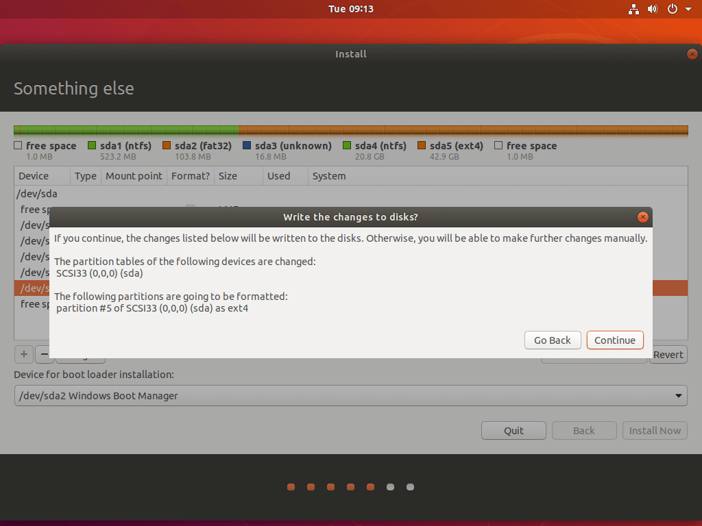 Confirm Ubuntu Partition ChangesConfirm Ubuntu Partition Changes