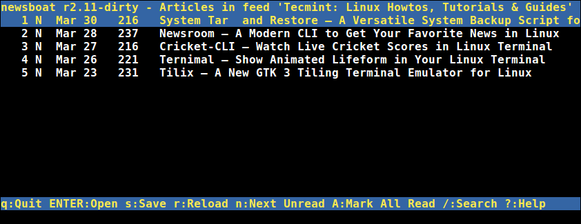 Newsboat Commandline RSS Reader