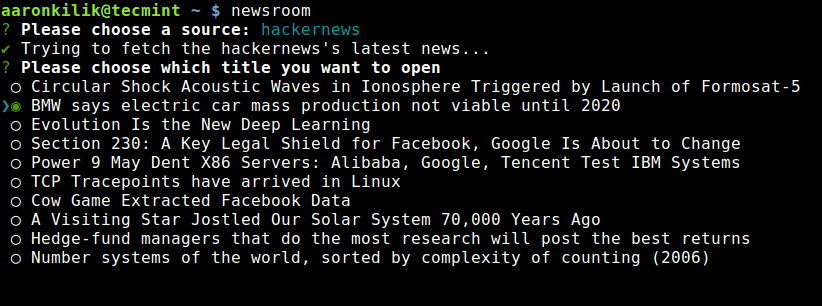 Newsroom Commandline RSS Reader