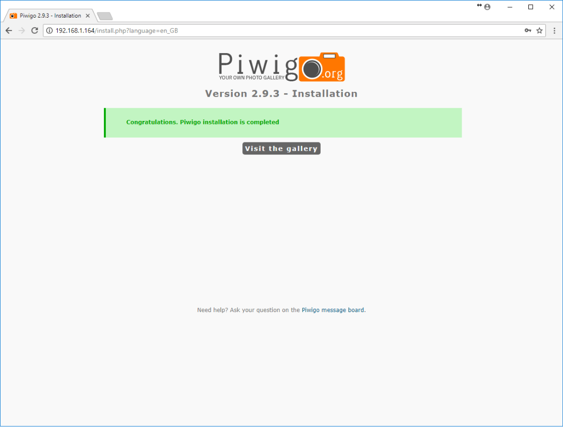 Piwigo Installation Completed