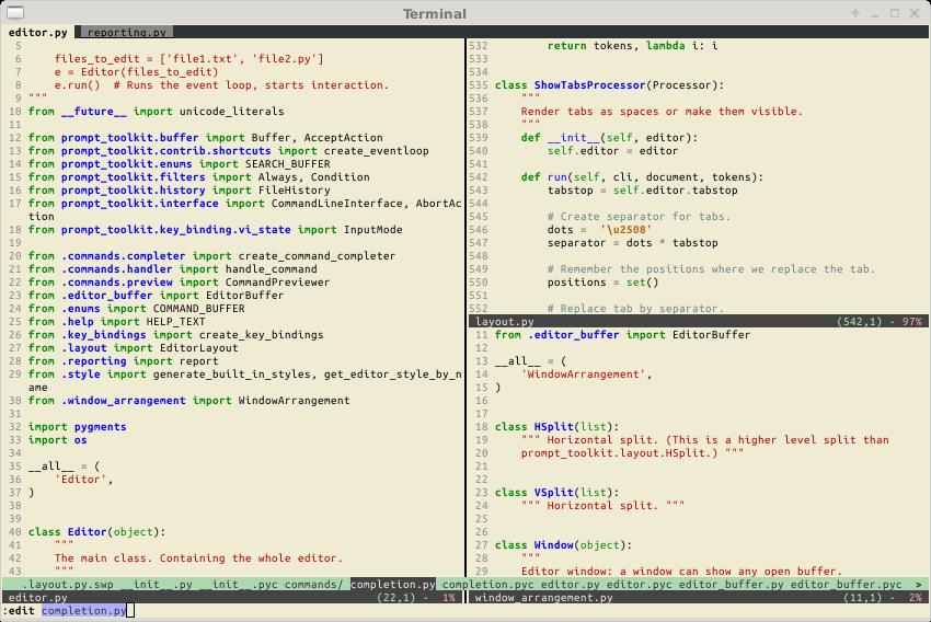 Pyvim Python Code Editor