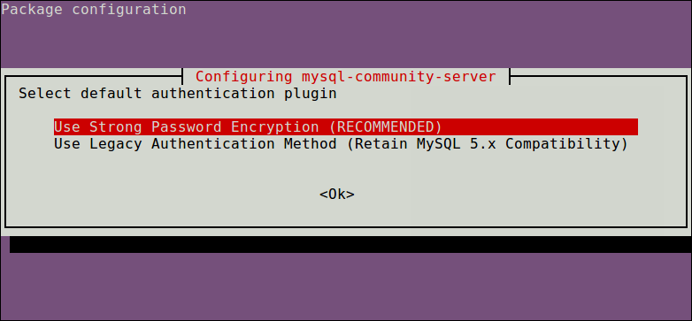 Select MySQL Authentication Plugin