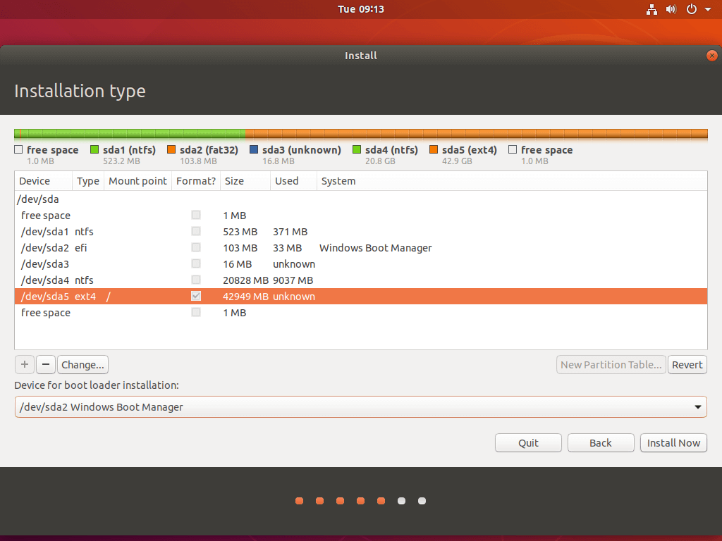 Select Ubuntu Boot Manager