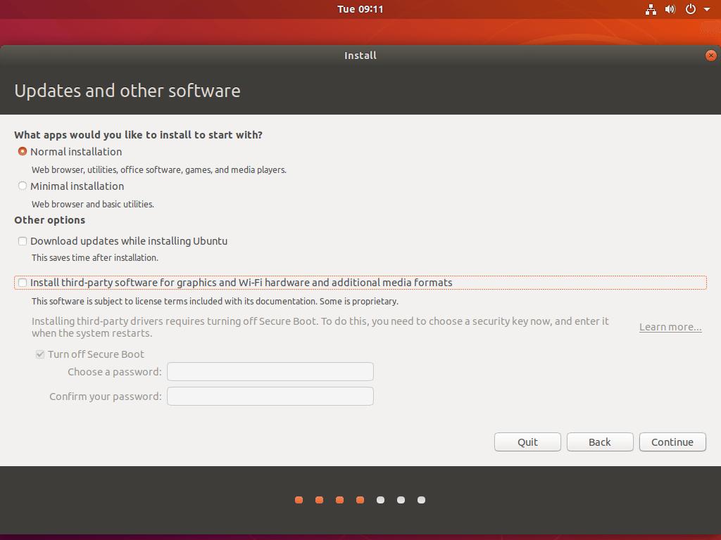 Select Ubuntu Install Type