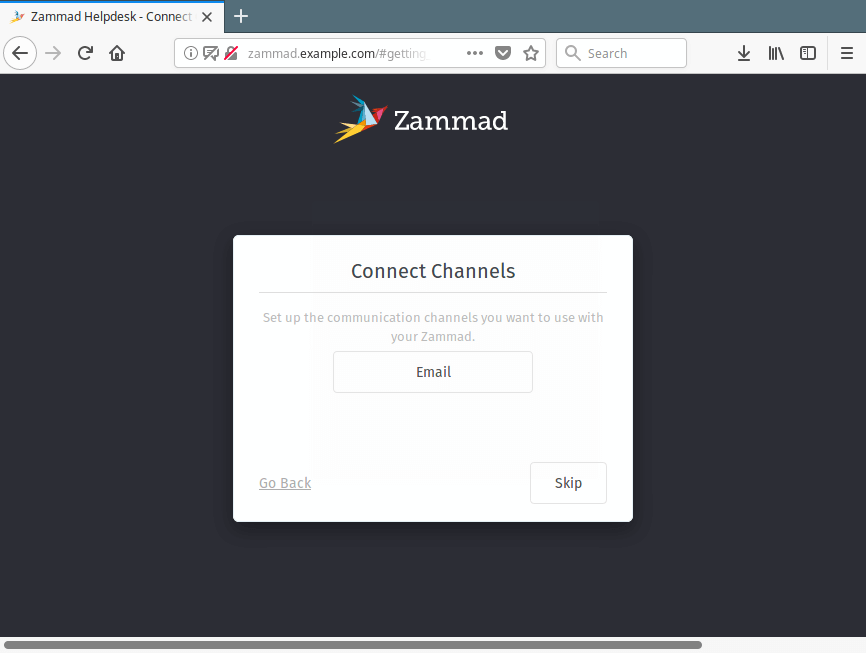 Setup Zammad Connect Channels
