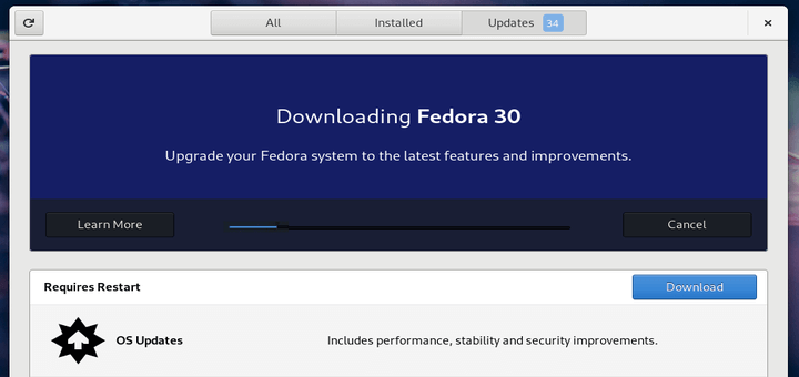 Upgrade Fedora 29 to Fedora 30