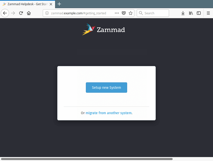 Zammad Setup Web Installer