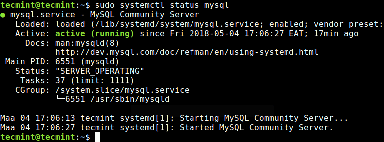 Check MySQL Server Status