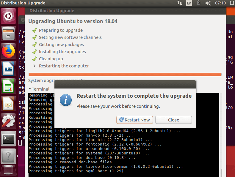 Restart Ubuntu to Complete Upgrade