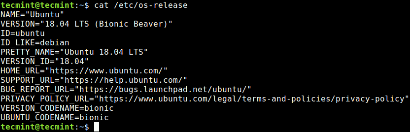 Check Ubuntu Release Version