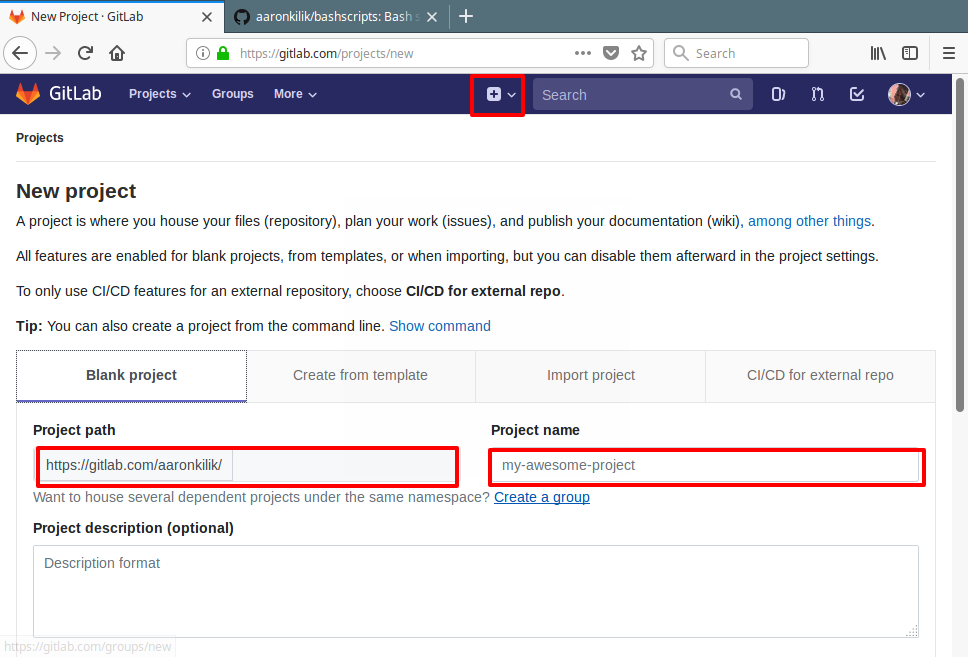 GitLab Create New Project