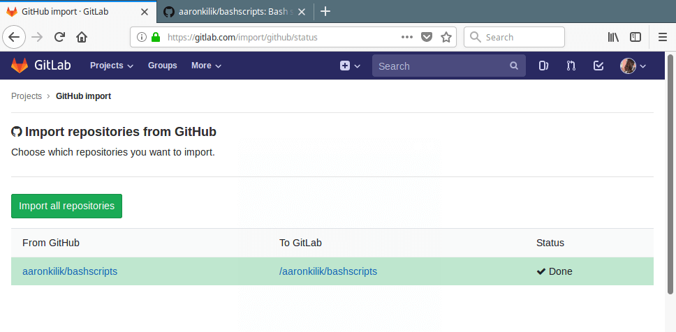 Github Repositories Imported to Gitlab
