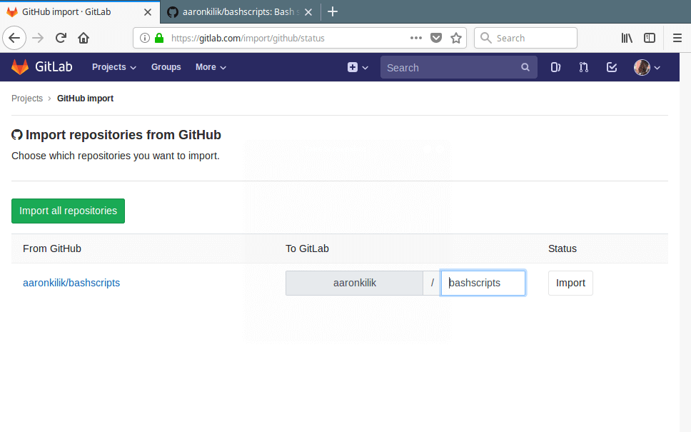 Import Github Repositories to Gitlab